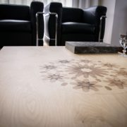 Kech coffee table natural varnish with pattern
